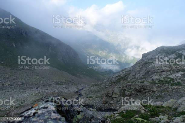 Photo of Clouds in a mountain valley.