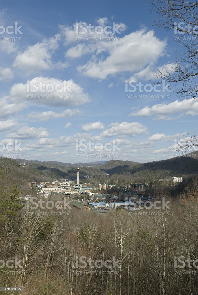 Clouds in Blue Sky over Gatlinburg, TN royalty-free stock photo