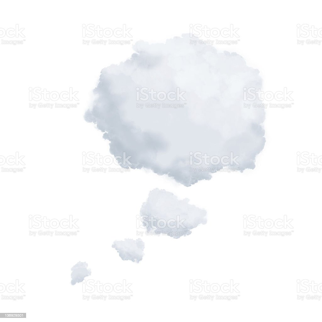 Clouds in shape of a thinking bubble stock photo