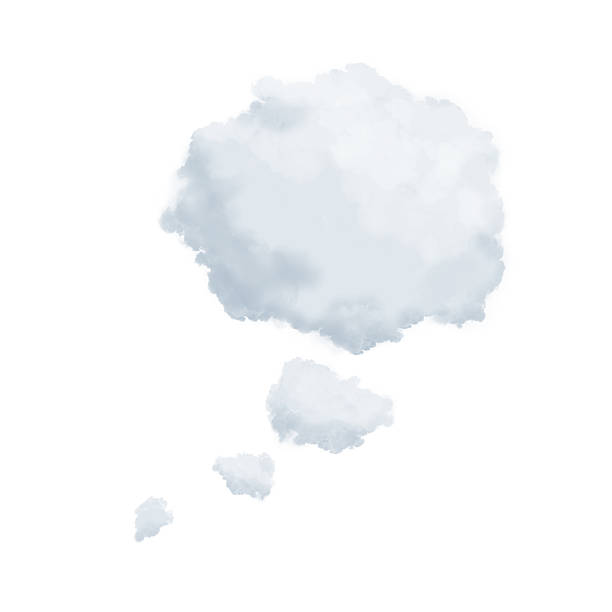 clouds in shape of a thinking bubble - thought bubble stock photos and pictures