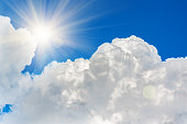 The clouds in the blue sky and sun, natural background