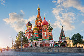 St. Basil's Cathedral on Red Square in Moscow and the clouds in the blue sky