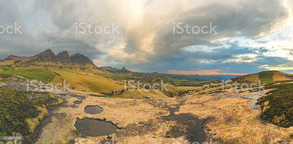 Clouds in the mountains stock photo