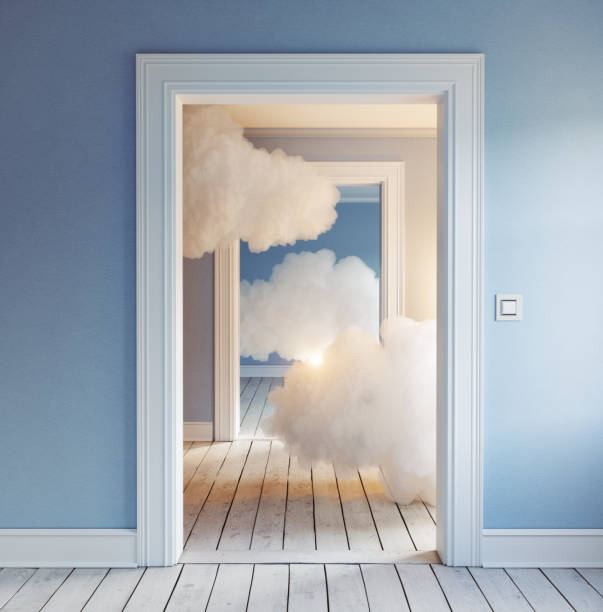 clouds in the room. clouds in the room. 3d creative concept rendering doorway stock pictures, royalty-free photos & images