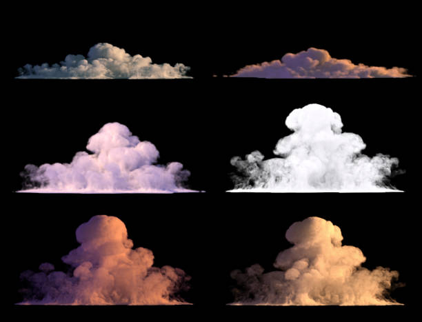 6 clouds in various lights isolated on black stock photo