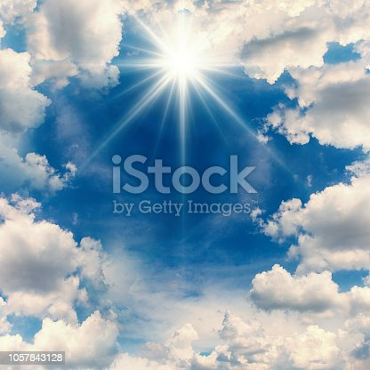 Clouds is frame with sunbeam