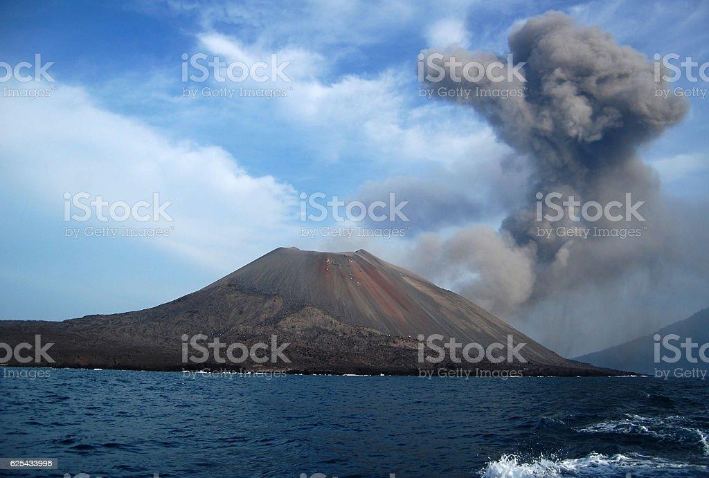 Clouds of smoke over Anak Krakatau voulcano, indonesia stock photo