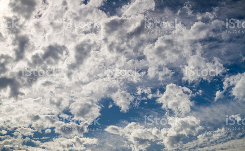 Clouds on a blue sky background stock photo