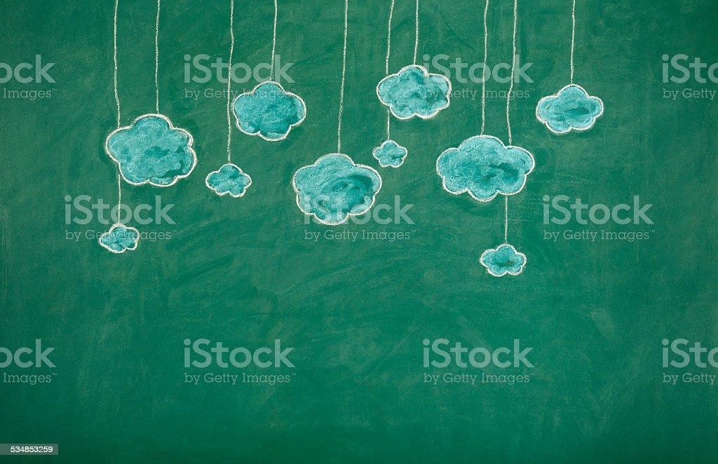 Clouds on Blackboard stock photo