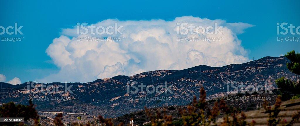 clouds on Saddleback Mountain stock photo