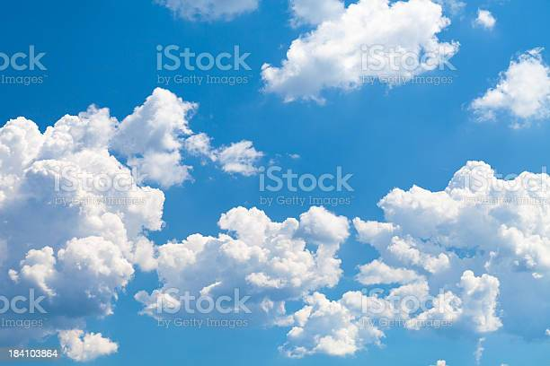 Shot of white clouds on blue sky.