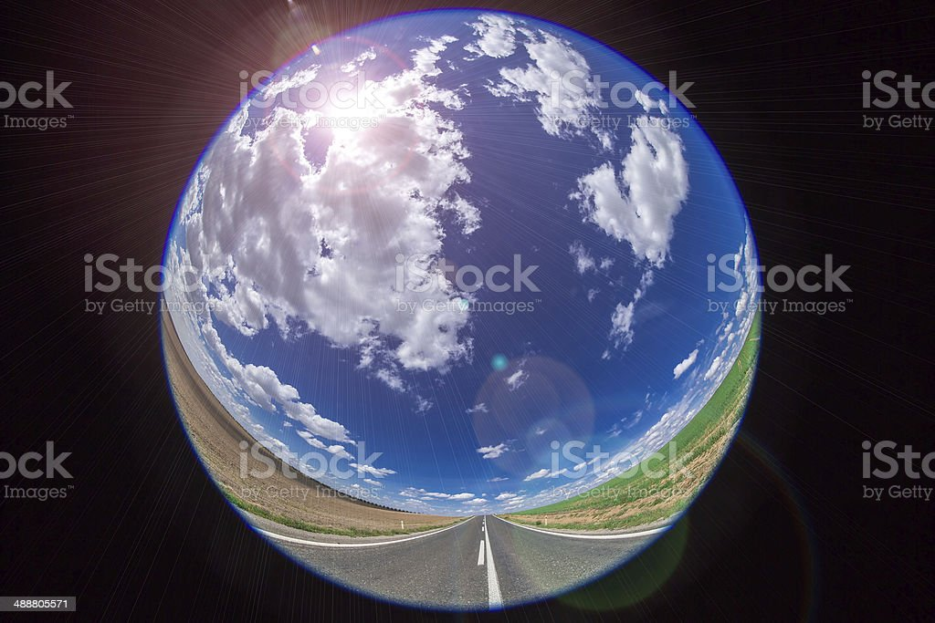 clouds on the blue sky with fish eye royalty-free stock photo
