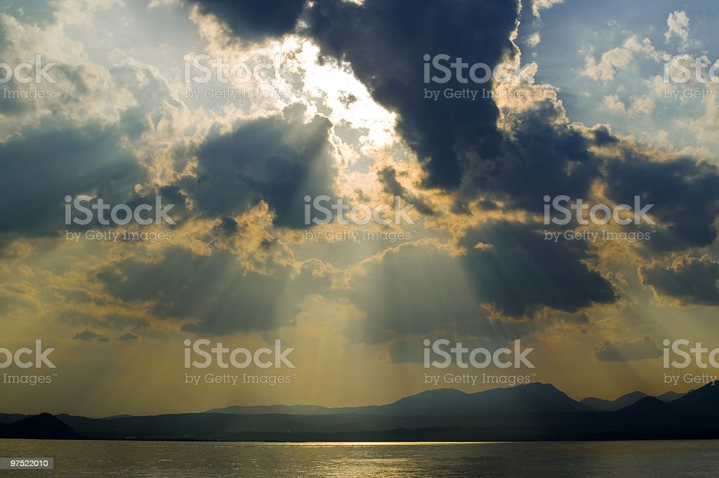 clouds on the lake royalty-free stock photo
