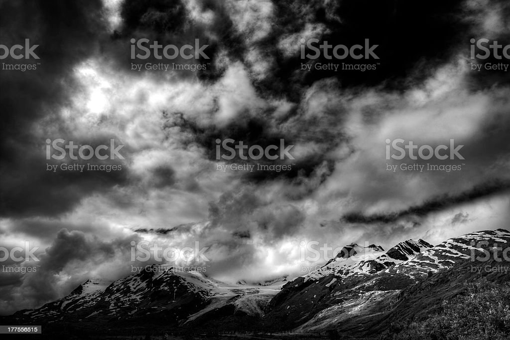 Clouds on Thompson Pass in Alaska stock photo