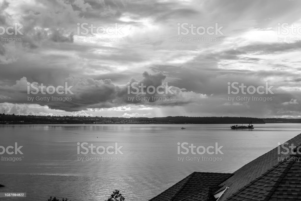 Clouds hover over the Puget Sound at Brown\'s Point, Washington.