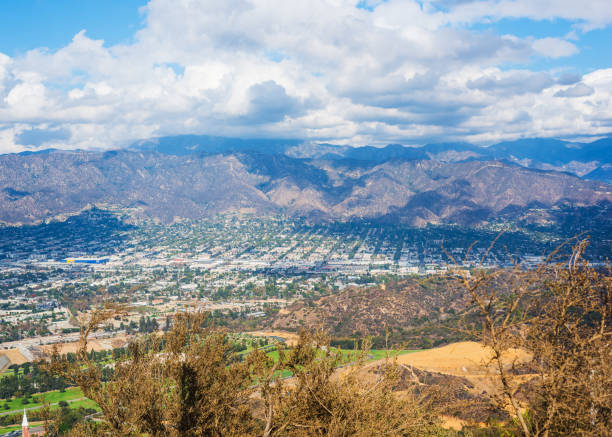 clouds over burbank - san fernando valley stock photos and pictures