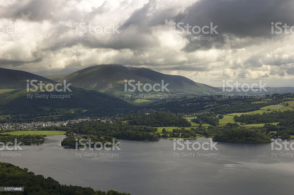 Clouds over Derwent water stock photo