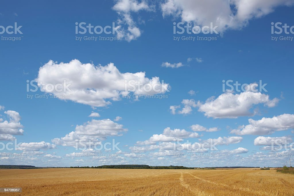 Clouds over field background stock photo