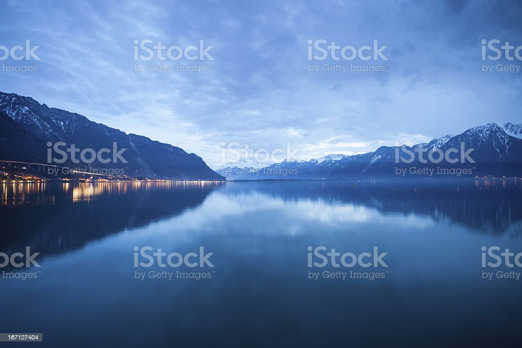 clouds over lac leman stock photo