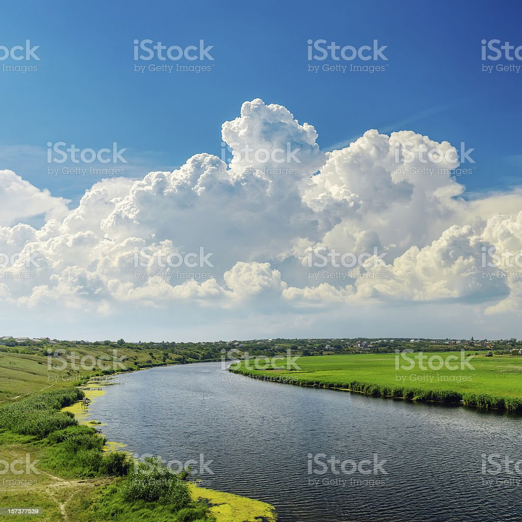 clouds over river royalty-free stock photo