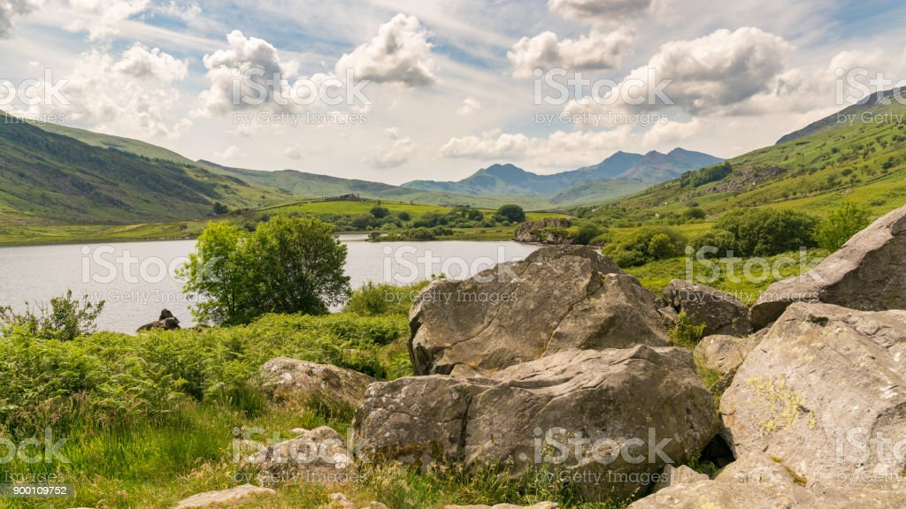 Clouds over Snowdonia stock photo