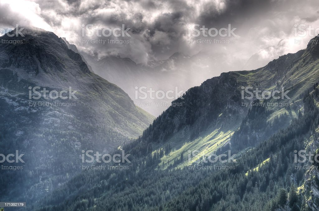 Clouds over the Bergell stock photo