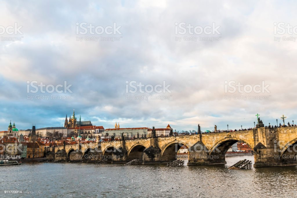 Clouds over the Charles bridge stock photo