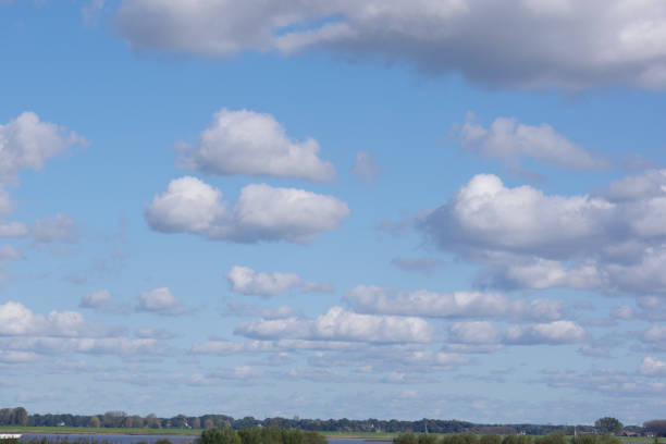 Clouds over the Elbe stock photo