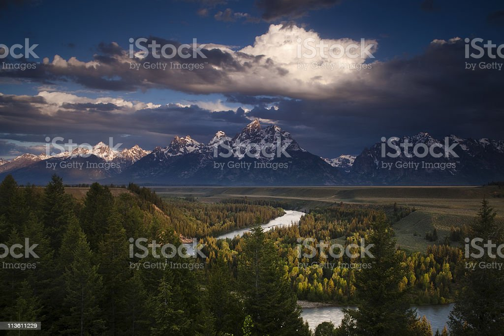 Clouds over the Grand Tetons stock photo