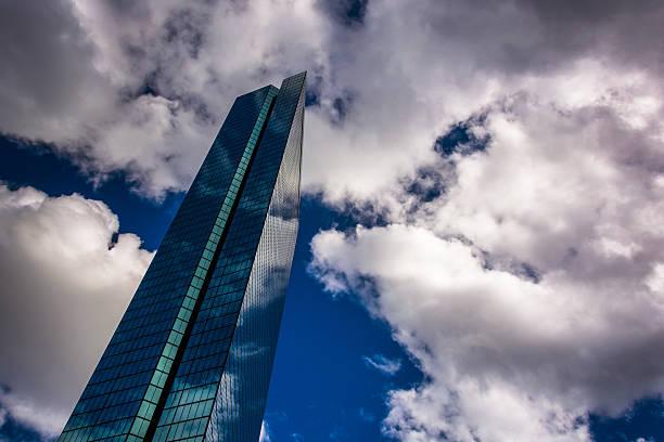 Clouds over the modern John Hancock Building in Boston, Massachu stock photo