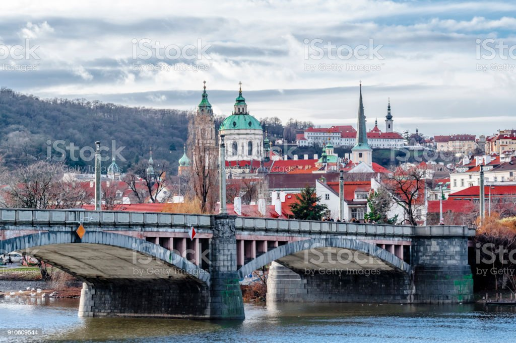 Clouds over the river Vltava stock photo