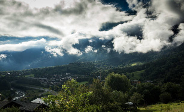 Clouds over the Tour du Mont Blanc Trail stock photo