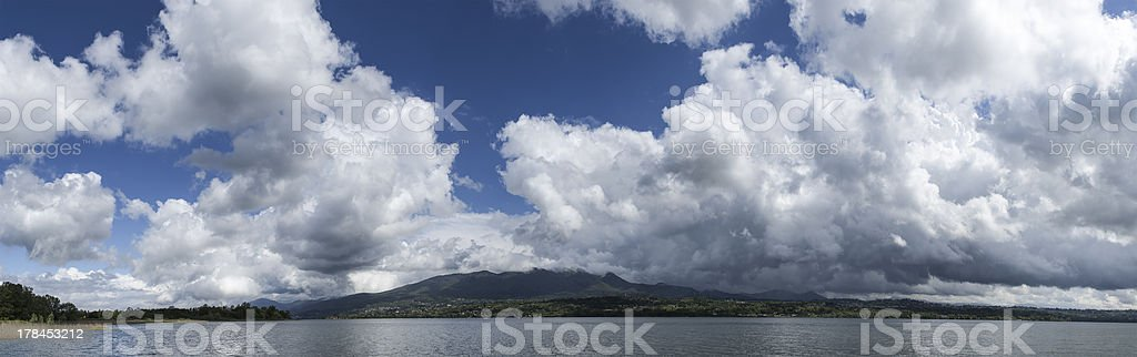 Clouds over the Varese lake stock photo