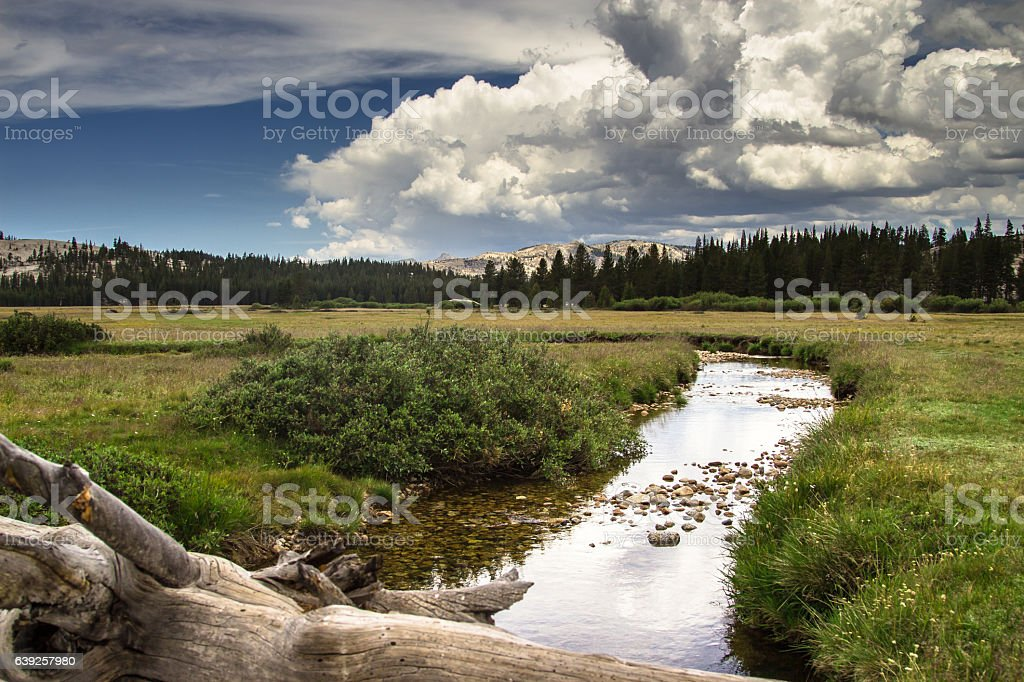 Clouds Over Tuolumne Meadows stock photo