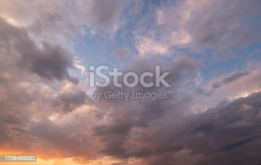 Storm Clouds at Sunset with an orange sky