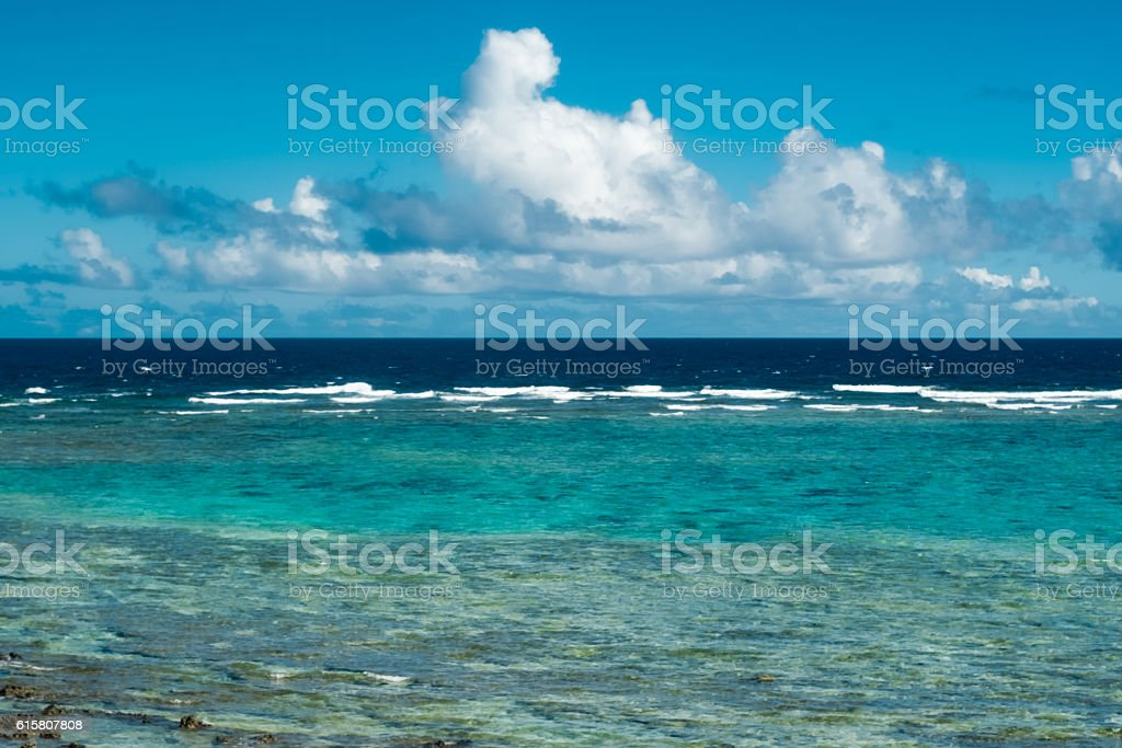 Clouds raged and lagoon blue sea of ​​Okinawa stock photo