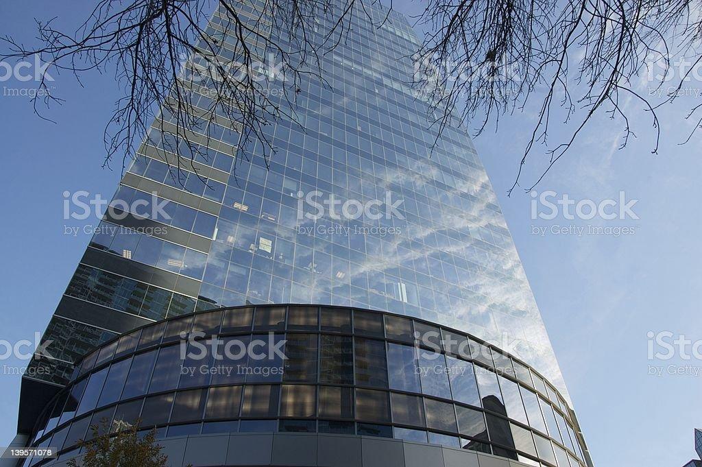 Clouds refecting on a skyscraper in Buckhead Atlanta stock photo