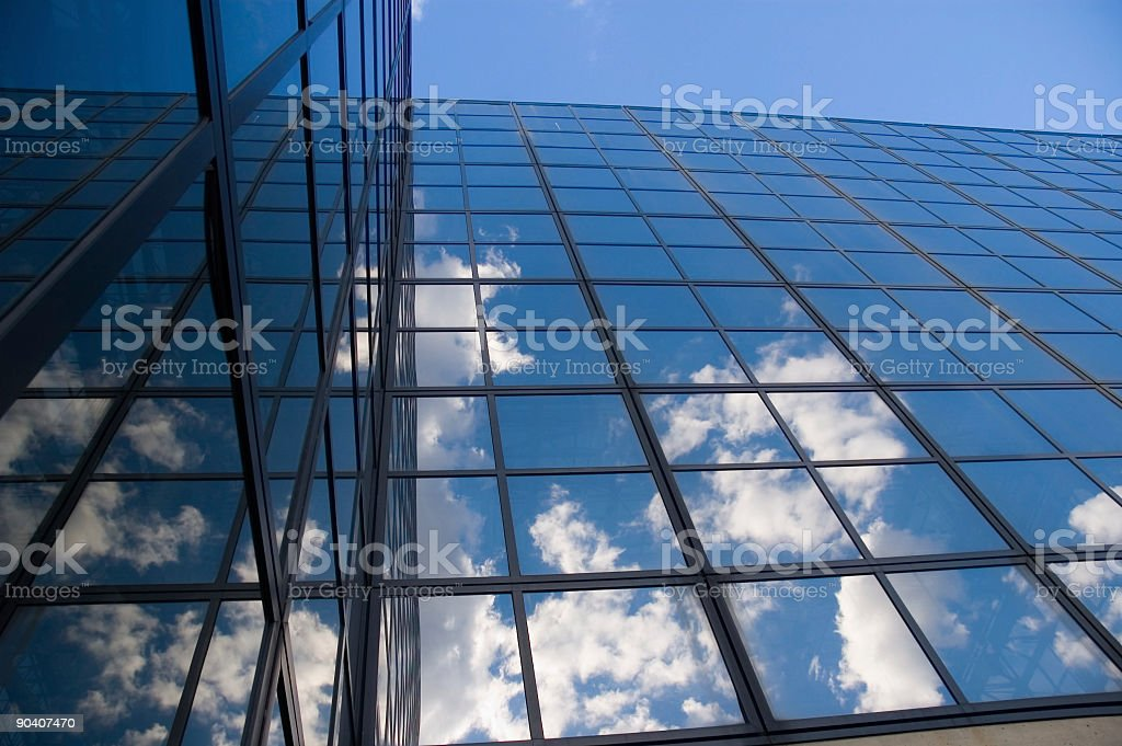 Clouds Reflected by Windows stock photo