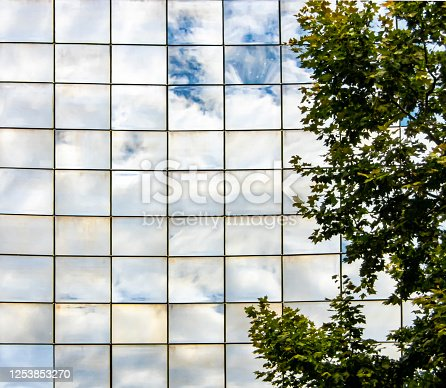 Clouds reflected in an office block in Lyon, France.