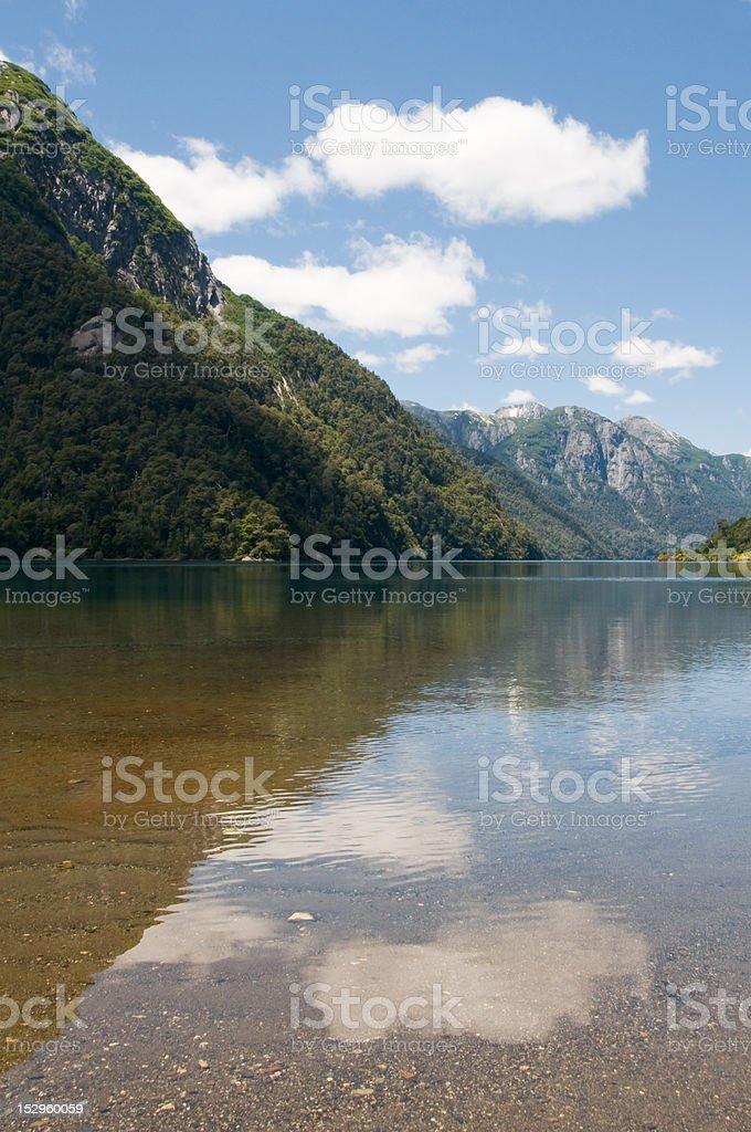 Clouds reflected in Lake Nahuel Huapi, Argentina stock photo