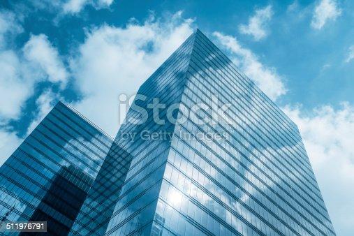 istock Clouds reflected in modern office buildings, Brussels, Belgium 511976791