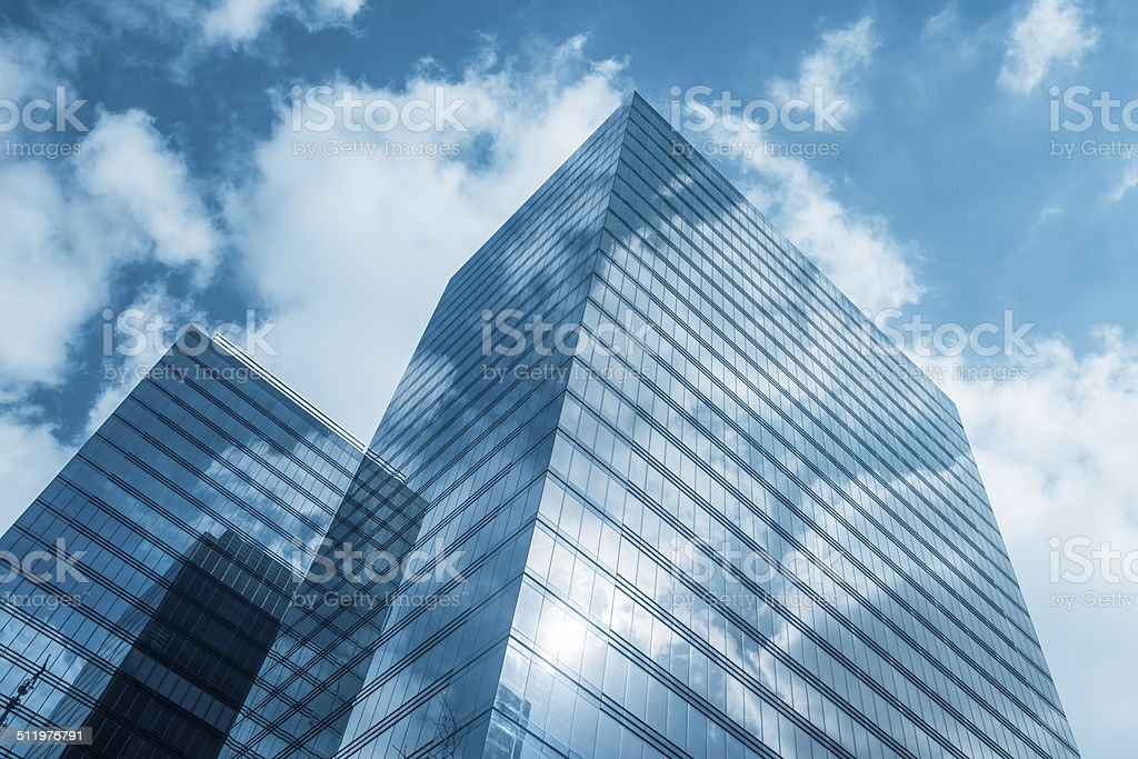 Clouds reflected in modern office buildings, Brussels, Belgium stock photo