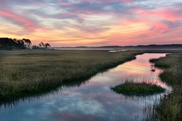 clouds reflecting in water of salt marsh at sunrise - mokradło zdjęcia i obrazy z banku zdjęć