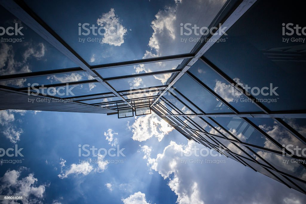 Clouds reflection stock photo