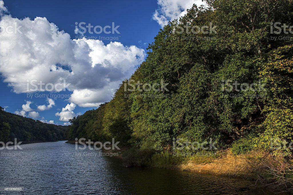 Clouds, River and the Belgrad forest stock photo