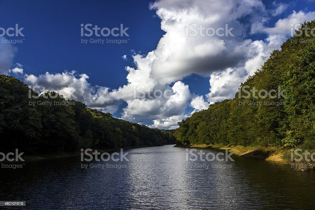 Clouds, River and the Belgrade forest stock photo