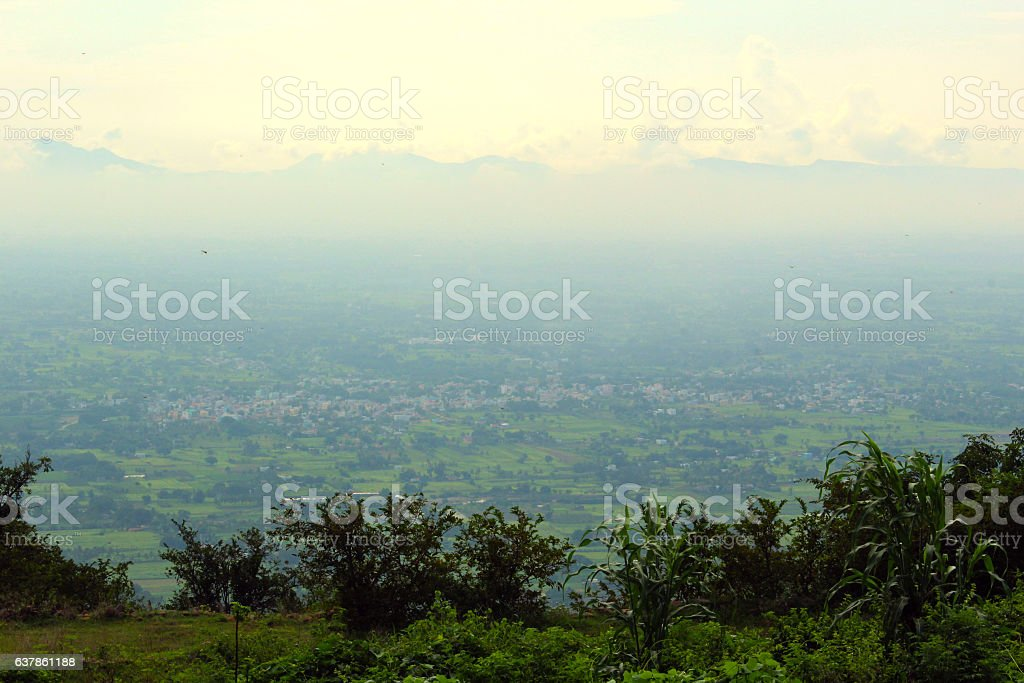Clouds rolling between hills of himacha stock photo
