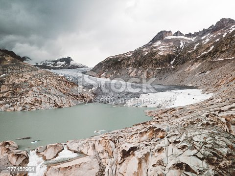 istock Clouds rolling over Rhône Glacier at Furka pass 1277452964