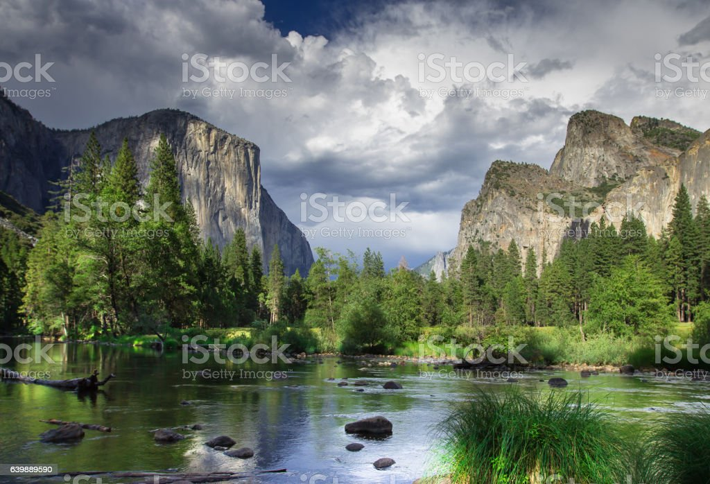 Clouds Rolling Over Yosemite Valley stock photo