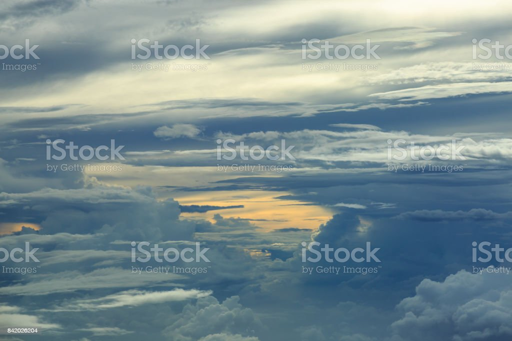 Clouds seen from the flight deck of an airplane stock photo